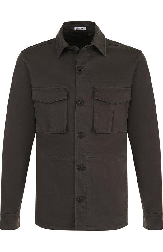 Купить Хлопковая рубашка свободного кроя Tomas Maier, 424240/M0750, Италия, Темно-зеленый, Хлопок: 97%; Эластан: 3%;