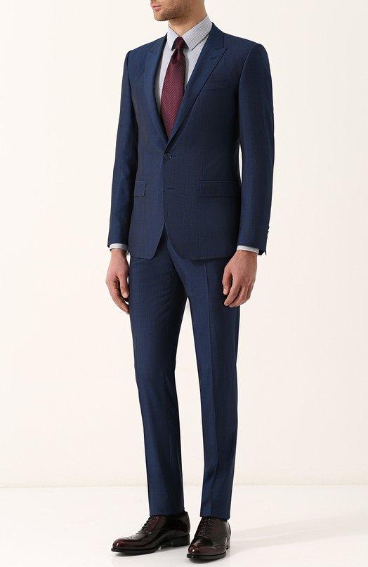 Купить Костюм из смеси шерсти и шелка с пиджаком на двух пуговицах Dolce & Gabbana, GK0RMT/FU3NX, Италия, Синий, Шерсть овечья: 80%; Шелк: 20%; Подкладка-вискоза: 100%;