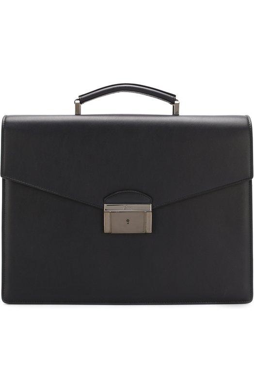 Купить Кожаный портфель с клапаном Brioni, 0ITB0L/P6751, Италия, Темно-синий, Кожа натуральная: 100%;
