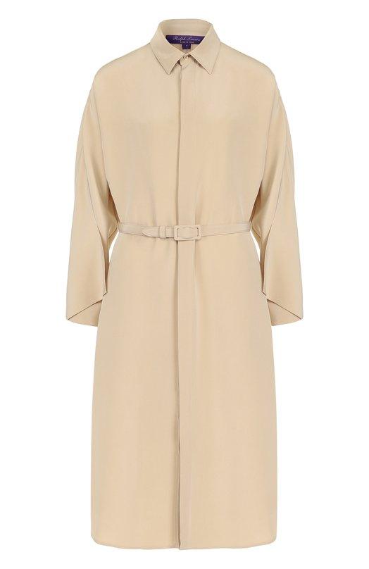 Купить Шелковое платье-рубашка с поясом Ralph Lauren, 290698281, Италия, Бежевый, Шелк: 100%;
