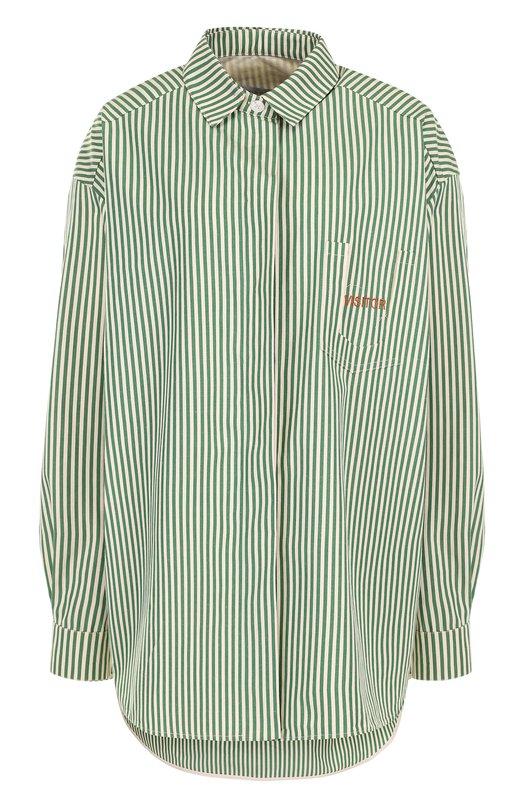 Купить Хлопковая блуза свободного кроя в полоску Walk of Shame, SH007-PS18, Россия, Зеленый, Хлопок: 100%;