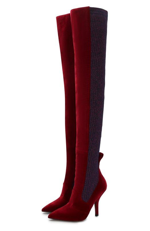 Бархатные ботфорты с вязаной отделкой на шпильке Fendi, 8W6620/A02G, Италия, Бордовый, Стелька-кожа: 100%; Подошва-кожа: 100%; Текстиль: 100%;  - купить