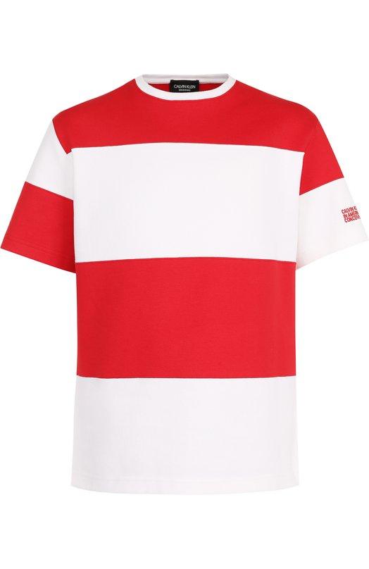 Купить Хлопковая футболка в контрастную полоску CALVIN KLEIN 205W39NYC, 81MWTA69/C181A, Италия, Разноцветный, Хлопок: 100%;