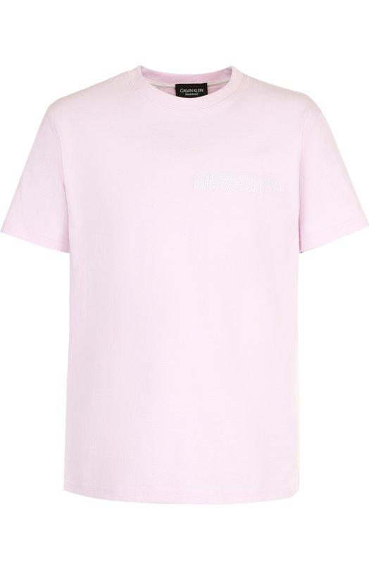 Купить Хлопковая футболка с круглым вырезом CALVIN KLEIN 205W39NYC, 81MWTA85/C182, Италия, Светло-розовый, Хлопок: 100%;