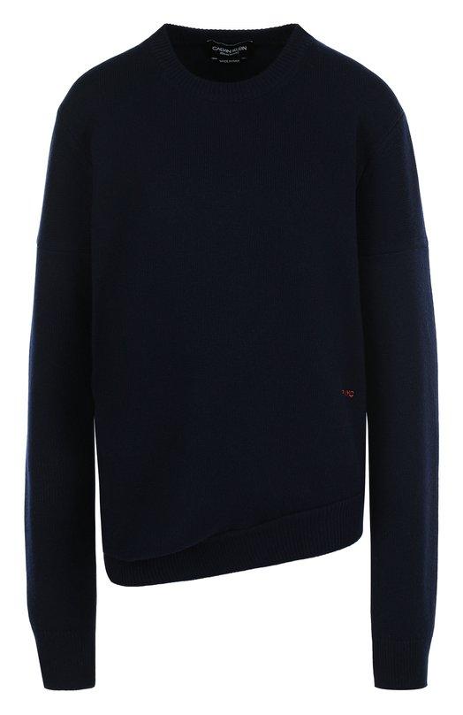 Купить Однотонный кашемировый пуловер с круглым вырезом CALVIN KLEIN 205W39NYC, 81WKTB44/K086, Италия, Темно-синий, Кашемир: 100%;
