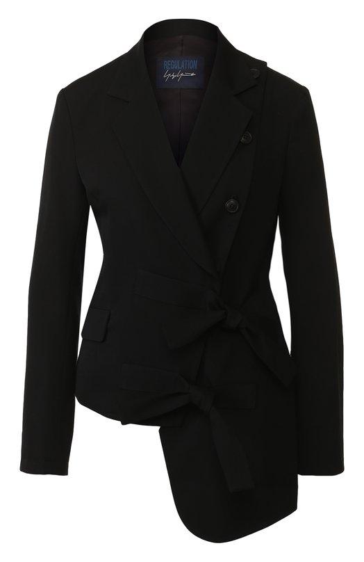 Купить Однотонный шерстяной жакет Yohji Yamamoto, FE-J51-100, Япония, Черный, Шерсть: 100%;