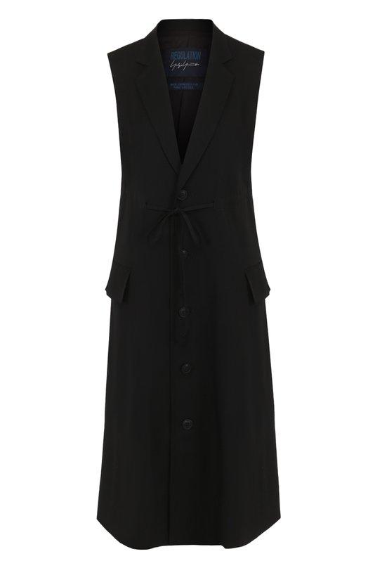 Купить Удлиненный шерстяной жилет Yohji Yamamoto, FE-J52-100, Япония, Черный, Шерсть: 100%; Подкладка-купра: 100%;