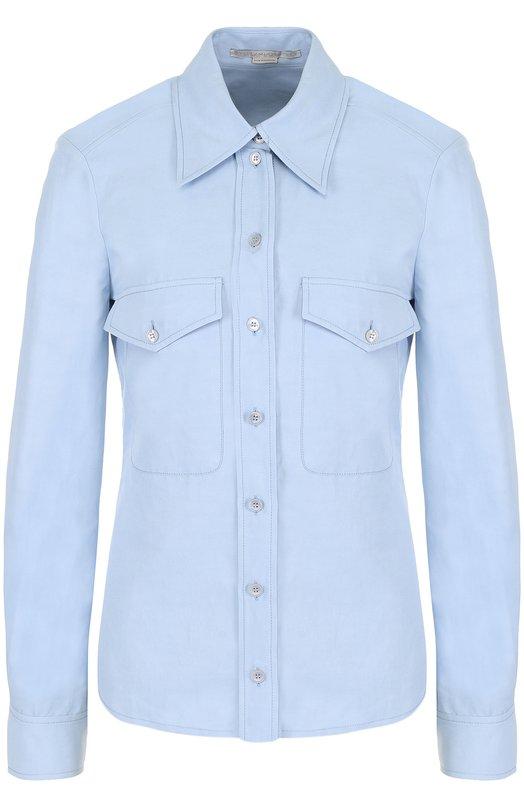 Купить Однотонная приталенная блуза с накладными карманами Stella McCartney, 493882/SIA03, Венгрия, Голубой, Полиамид: 40%; Хлопок: 36%; Лен: 24%;