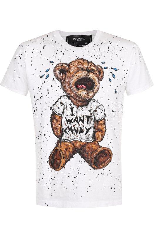 Купить Хлопковая футболка с принтом Dom Rebel, TANTRUM/T-SHIRT/PAINT, Канада, Белый, Хлопок: 100%;