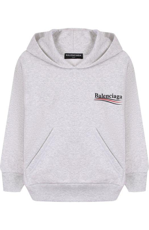 Хлопковое худи с логотипом бренда Balenciaga