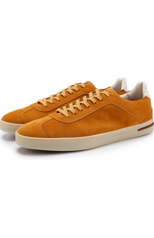 Купить Замшевые кеды 70'S Walk на шнуровке Loro Piana, FAI1108, Италия, Желтый, Стелька-кожа: 100%; Подошва-резина: 100%; Отделка кожа натуральная: 100%; Замша натуральная: 100%;