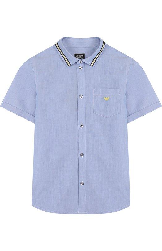 Купить Хлопковая рубашка с короткими рукавами и контрастной отделкой Armani Junior, 3Z4C04/4NFJZ/11A-16A, Китай, Голубой, Хлопок: 100%;