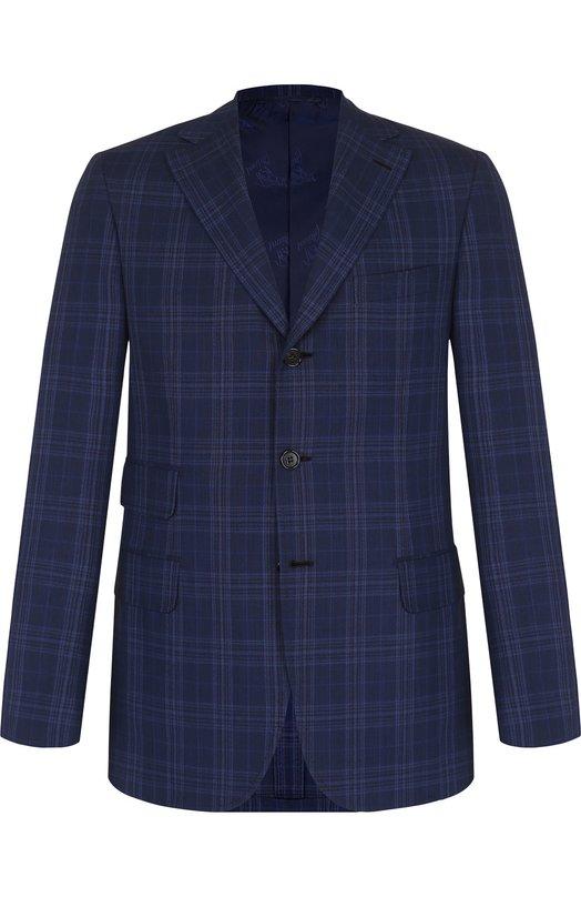 Купить Однобортный шерстяной пиджак Brioni, RG4H0L/P7AB4, Италия, Темно-синий, Шерсть: 100%;