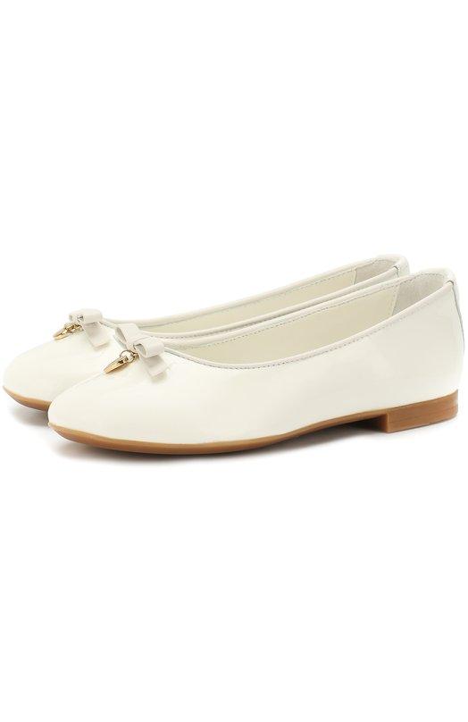 Купить Лаковые балетки с бантами Dolce & Gabbana, D10341/A1328/19-28, Италия, Белый, Кожа натуральная: 100%; Стелька-кожа: 100%; Подошва-резина: 100%;