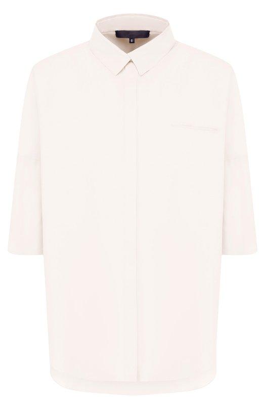 Купить Хлопковая блуза свободного кроя с укороченным рукавом Tegin, SB1839, Россия, Белый, Хлопок: 100%;