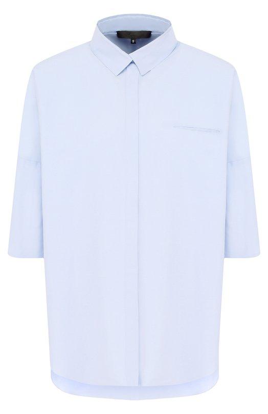 Купить Хлопковая блуза свободного кроя с укороченным рукавом Tegin, SB1839, Россия, Голубой, Хлопок: 100%;