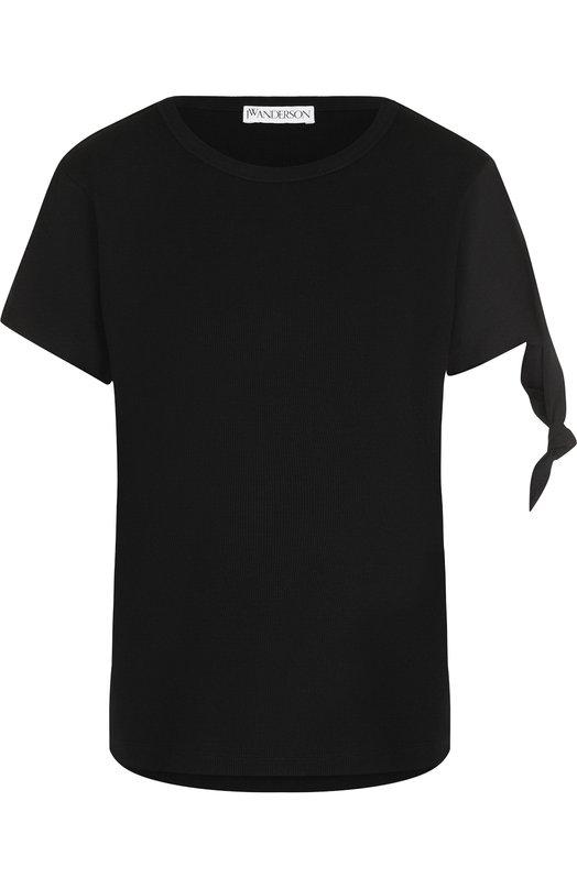 Купить Однотонная хлопковая футболка с круглым вырезом J.W. Anderson, JE23WR18 703/999, Португалия, Черный, Хлопок: 100%;