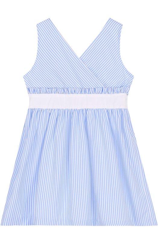 Хлопковое платье с контрастным поясом и оборкой Caf