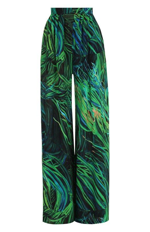 Купить Шелковые широкие брюки с принтом Elie Saab, 9551, Италия, Зеленый, Шелк: 100%;