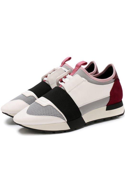 Купить Комбинированные кроссовки Race на шнуровке Balenciaga, 500584/W0YXT, Италия, Белый, Кожа натуральная: 100%; Стелька-кожа: 100%; Подошва-резина: 100%; Текстиль: 100%; Отделка замша натуральная: 100%;