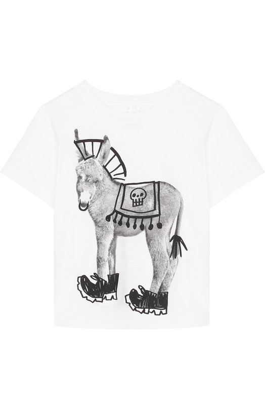 Купить Хлопковая футболка с принтом Stella McCartney, 489907/SKJ21, Италия, Белый, Хлопок: 100%;