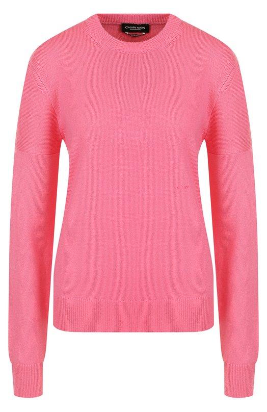 Купить Кашемировый однотонный пуловер с круглым вырезом CALVIN KLEIN 205W39NYC, 81WKTA43/K086, Италия, Розовый, Кашемир: 100%;