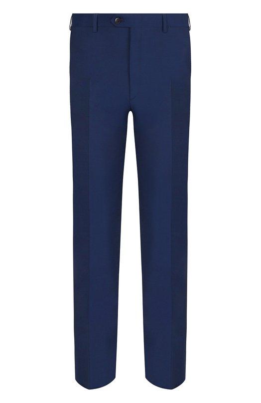 Купить Шерстяные брюки прямого кроя Brioni, RPL210/P3AE0/M0ENA, Италия, Темно-синий, Шерсть: 80%; Мохер: 20%; Подкладка-Купра: 100%;