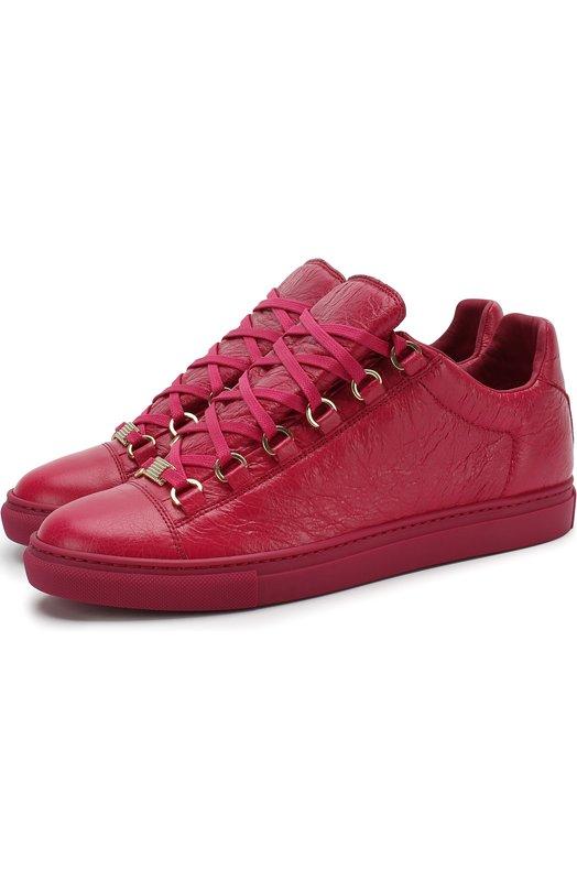 Купить Кеды из фактурной кожи на шнуровке Balenciaga, 477285/WAD40, Испания, Розовый, Кожа натуральная: 100%; Стелька-кожа: 100%; Подошва-резина: 100%;