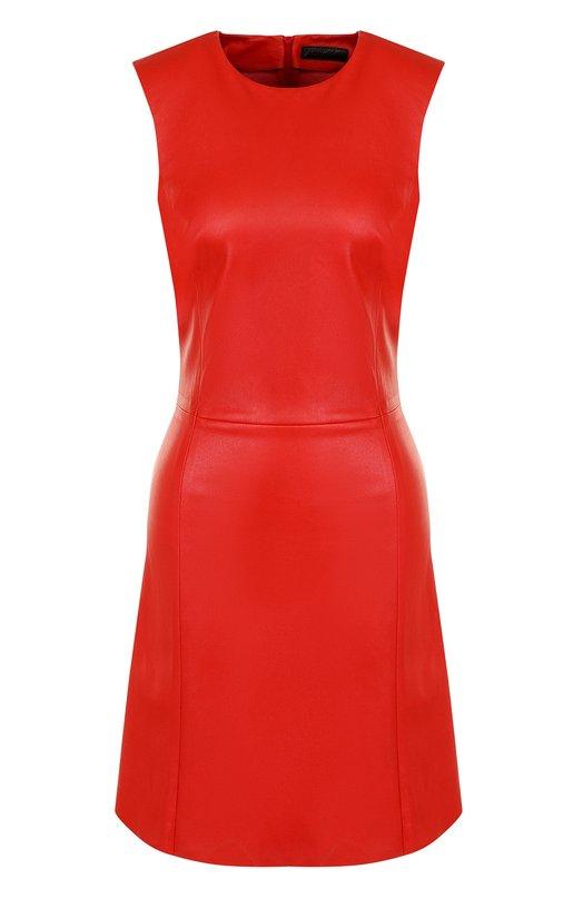 Купить Однотонное кожаное мини-платье без рукавов DROMe, DPD0995P/D074, Италия, Красный, Кожа натуральная: 100%;