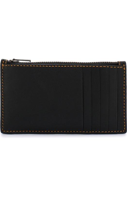 Купить Кожаный футляр для кредитных карт с отделением на молнии Coach, 22879, Индия, Черный, Кожа натуральная: 100%;