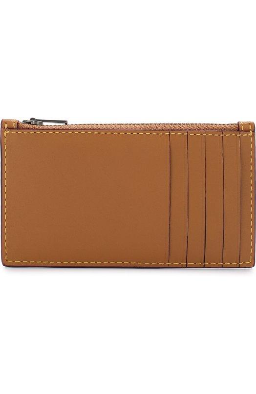 Купить Кожаный футляр для кредитных карт с отделением на молнии Coach, 22879, Индия, Бежевый, Кожа натуральная: 100%;