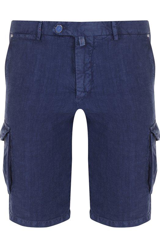 Купить Льняные шорты с накладными карманами Kiton, UFPPBJ06P7205000, Италия, Синий, Лен: 100%;