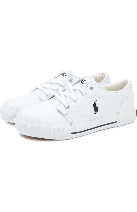 Купить HUG0 II/JUNI, Резиновые кеды на шнуровке Polo Ralph Lauren, Китай, Белый, Подошва-резина: 100%; Резина: 100%; Стелька-текстиль: 100%;, Женский, Спортивная обувь