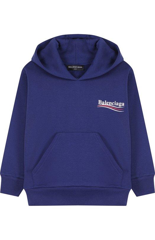 Купить Хлопковое худи с логотипом бренда Balenciaga, 508244/TWK14, Португалия, Синий, Хлопок: 84%; Полиэстер: 16%;