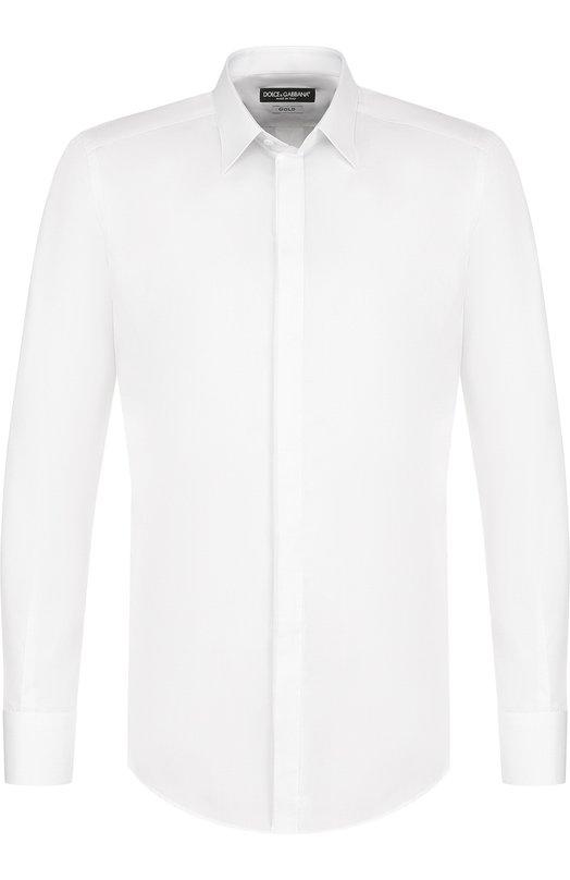 Купить Хлопковая сорочка с воротником кент Dolce & Gabbana, G5EX3T/FU5NK, Италия, Белый, Хлопок: 100%;