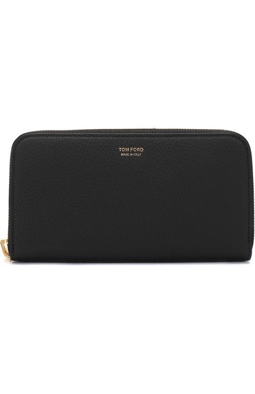 Купить Кожаное портмоне на молнии с отделениями для кредитных карт и монет Tom Ford, 118Y0241T-C95, Италия, Черный, Кожа натуральная: 100%;