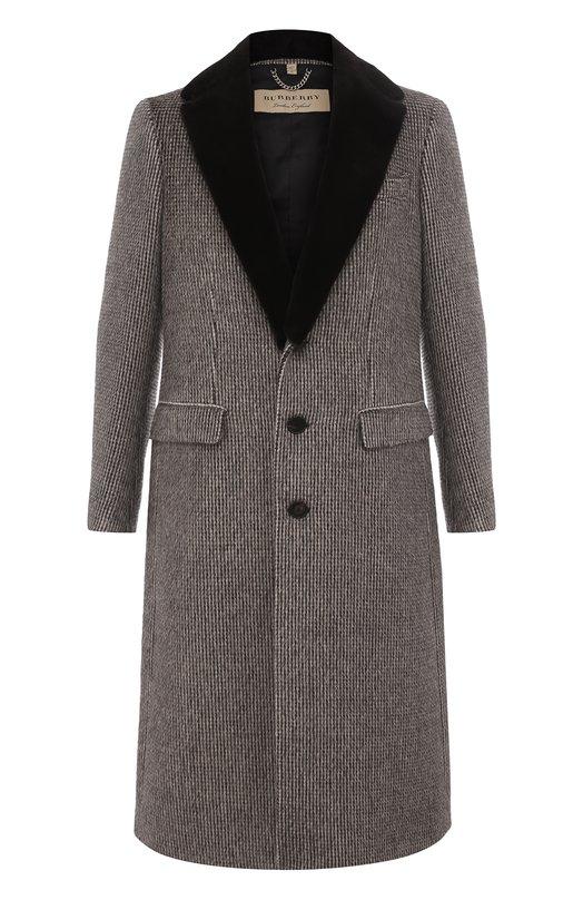 Купить Однобортное шерстяное пальто с меховой отделкой воротника Burberry, 4058299, Италия, Коричневый, Шерсть альпака: 63%; Отделка-вискоза: 50%; Подкладка-ацетат: 50%; Шерсть овечья: 37%; Отделка мех./норка/: 100%;