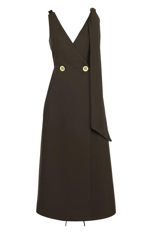 Приталенное хлопковое платье-миди Walk of Shame, SD001-PS18, Россия, Коричневый, Хлопок: 100%;  - купить