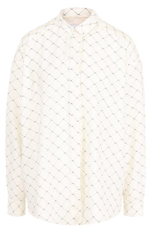 Купить Шелковая блуза свободного кроя с принтом Walk of Shame, SH006-PS18, Россия, Бежевый, Шелк: 100%;