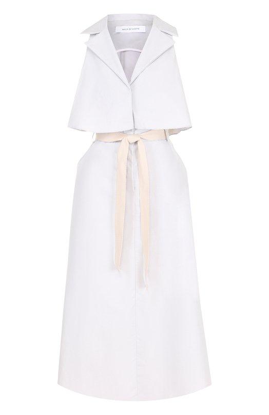 Купить Хлопковое платье-миди с контрастным поясом Walk of Shame, D009-PS18, Россия, Серый, Хлопок: 100%;