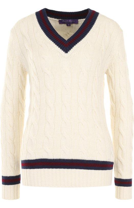 Кашемировый пуловер фактурной вязки с V-образным вырезом Ralph Lauren Ralph Lauren