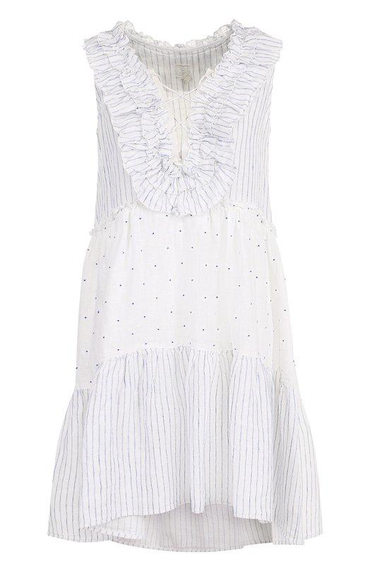 Купить Льняное мини-платье с удлиненной спинкой 120% Lino, N3W4806/F180/000, Болгария, Белый, Лен: 100%;