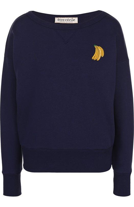 Купить Хлопковый пуловер с круглым вырезом и контрастной отделкой Etre Cecile, BANANA-VTS-BD 330G C0TT0N FLEECE, Португалия, Синий, Хлопок: 100%;