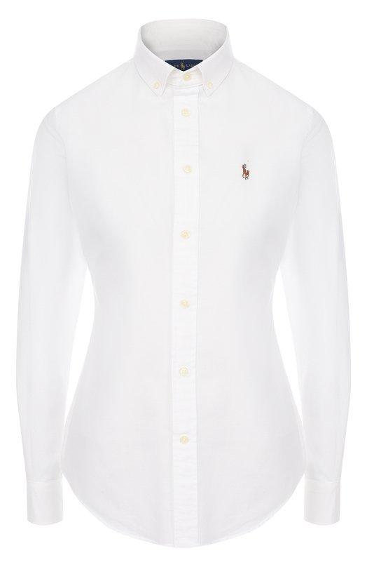 Купить Приталенная хлопковая блуза в полоску Polo Ralph Lauren, 211642479, Шри-Ланка, Белый, Хлопок: 100%;