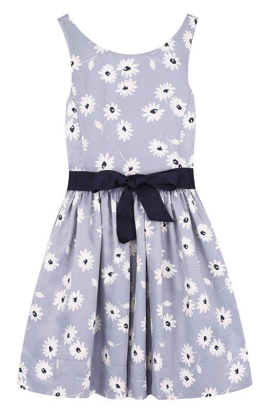 Приталенное платье с принтом и контрастным поясом Polo Ralph Lauren, 313685441, Китай, Голубой, Полиэстер: 100%; Подкладка-полиэстер: 100%;  - купить