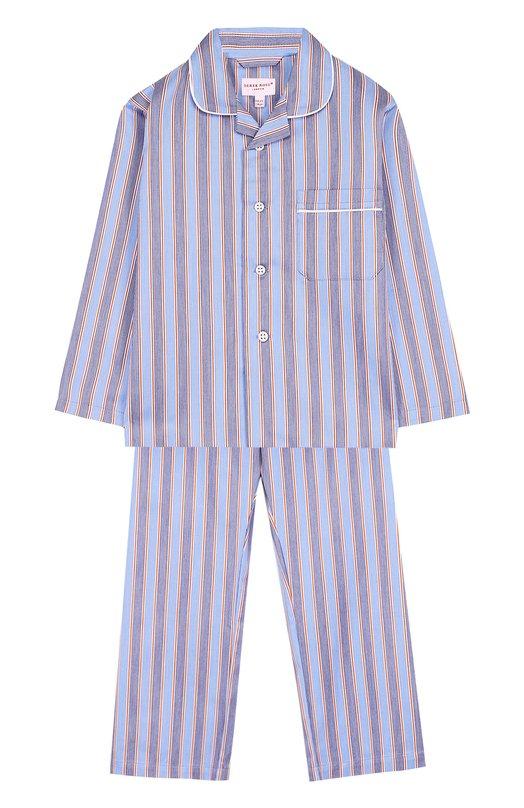 Купить Хлопковая пижама с принтом Derek Rose, 7005-ELIT047/3-12, Чехия, Голубой, Хлопок: 100%;