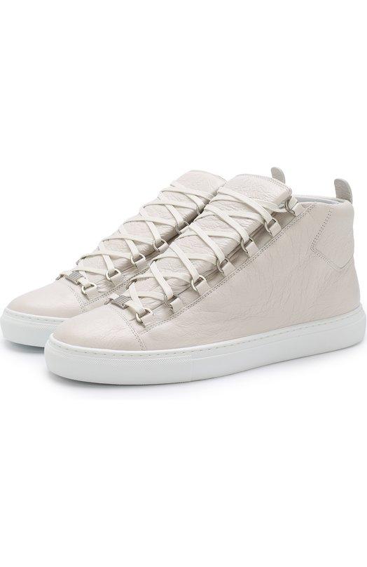 Купить Высокие кожаные кеды на шнуровке Balenciaga, 483497/WAY40, Испания, Белый, Кожа натуральная: 100%; Стелька-кожа: 100%; Подошва-резина: 100%;