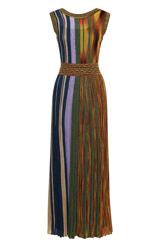 Купить Приталенное вязаное платье-миди без рукавов Missoni, E18.MD.210537, Италия, Разноцветный, Шелк: 96%; Вискоза: 8%; Купра: 57%; Эластан: 4%; Полиэстер: 35%;