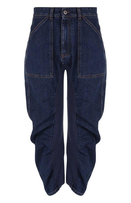 Купить Укороченные джинсы с драпировкой и потертостями Stella McCartney, 466388/SHH35, Италия, Синий, Хлопок: 98%; Эластан: 2%;