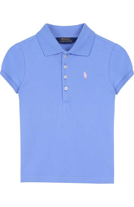 Купить Хлопковое поло с логотипом бренда Polo Ralph Lauren, 312688656, Китай, Голубой, Хлопок: 98%; Эластан: 2%;